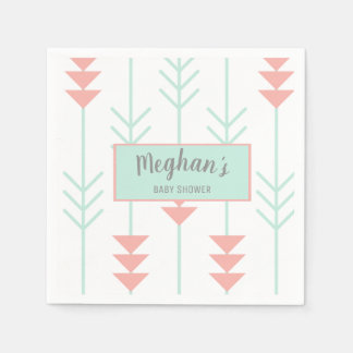 Boho Baby Shower | Mint Green and Peach Arrow Napkin