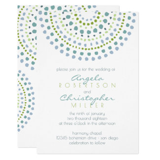 Boho Bali Green Jewels Wedding Card