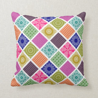 Boho Bazaar Mosaic Patchwork Throw Pillow