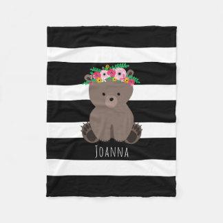 Boho Bear Stripe Girls Fleece Blanket