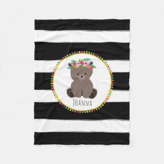 Boho Bear Stripes Girls Fleece Blanket