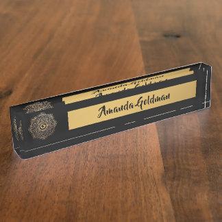 Boho Black Gold Mandala Flower Monogrammed Luxury Name Plate