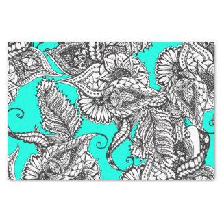 Boho black white hand drawn floral doodles pattern tissue paper