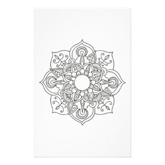 Boho black white mandala floral ornament coloring stationery