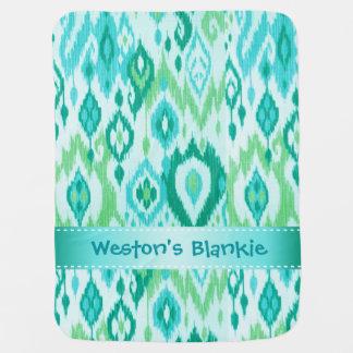 Boho Blankie aqua mint blue Ikat Tapestry Receiving Blanket