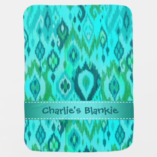 Boho Blankie aqua turquoise blue Ikat Tapestry Baby Blanket