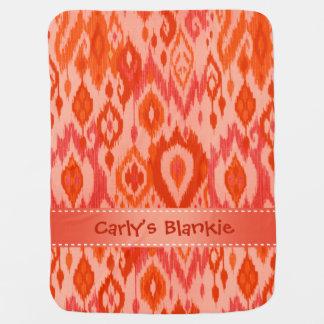 Boho Blankie coral peach Ikat Tribal Tapestry Stroller Blanket