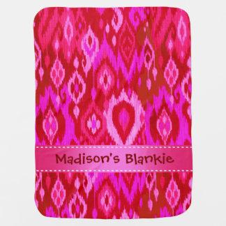 Boho Blankie fuchsia hot pink Ikat Tribal Tapestry Stroller Blanket
