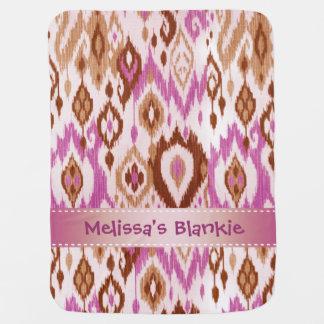Boho Blankie lilac brown tan Ikat Tapestry Stroller Blankets