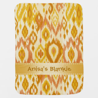 Boho Blankie mustard yellow tan Ikat Tapestry Baby Blanket