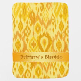 Boho Blankie mustard yellow tan Ikat Tapestry Stroller Blanket