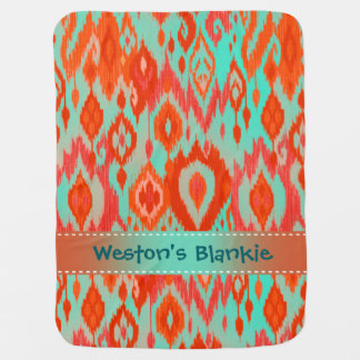 Boho Blankie orange turquoise blue Ikat Tapestry Baby Blanket