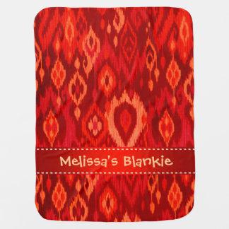 Boho Blankie red burgundy peach Ikat Tapestry Baby Blankets