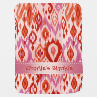 Boho Blankie rust orchid lilac Ikat Tapestry Receiving Blankets