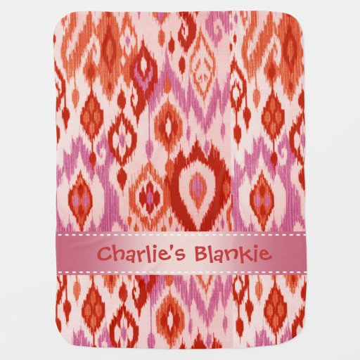 Boho Blankie rust orchid lilac Ikat Tapestry Swaddle Blankets