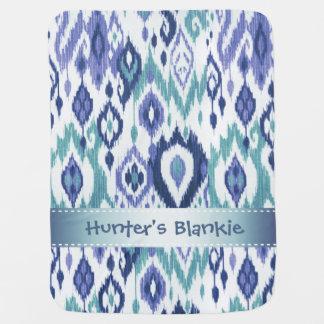 Boho Blankie slate teal icy blue Ikat Tapestry Stroller Blanket