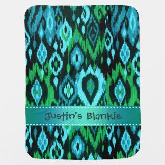 Boho Blankie teal aqua green Ikat Tribal Tapestry Stroller Blanket