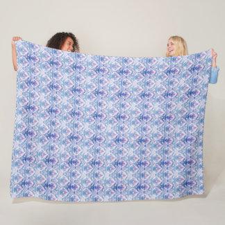 Boho Blue and Purple Pattern Cozy Fleece Blanket