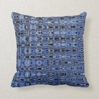 Boho Blue Black Grey Millefiori Zig Zag Mosaic Throw Pillow