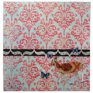 Boho Blue Butterflies &  Vintage Deer Damask Napki Printed Napkin