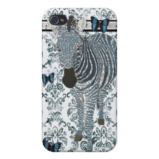 Boho Blue Butterfly & Zebra Grunge Damask C Covers For iPhone 4