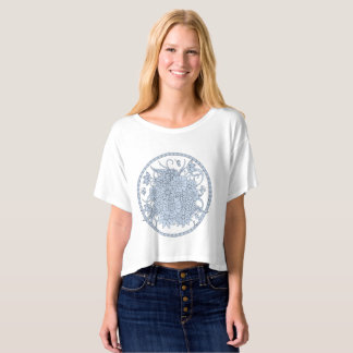 boho blue composition into sends it t-shirt