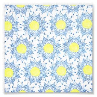 Boho blue henna mandala yellow sun pattern photo art