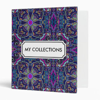 Boho blue kaleidoscope native american trend 3 ring binder