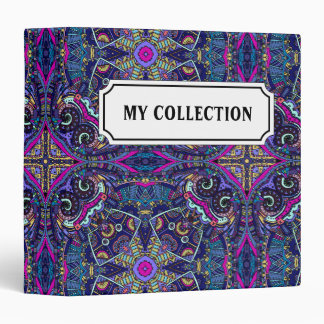 Boho blue kaleidoscope native american trend 3 ring binders
