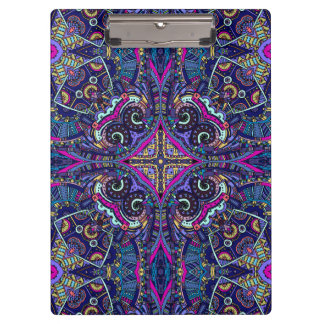 Boho blue kaleidoscope native american trend clipboard