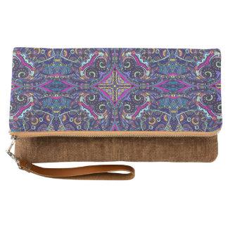 Boho blue kaleidoscope native american trend clutch