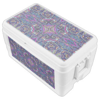 Boho blue kaleidoscope native american trend cooler