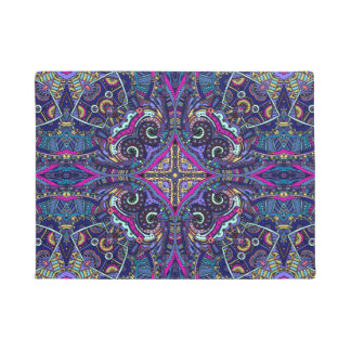 Boho blue kaleidoscope native american trend doormat