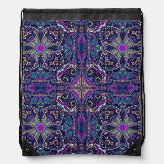 Boho blue kaleidoscope native american trend drawstring bag