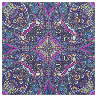 Boho blue kaleidoscope native american trend fabric