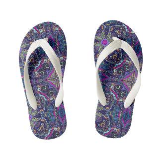 Boho blue kaleidoscope native american trend kid's flip flops
