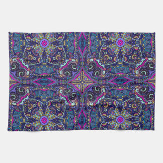 Boho blue kaleidoscope native american trend kitchen towel