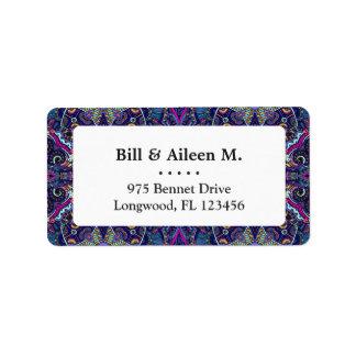 Boho blue kaleidoscope native american trend label