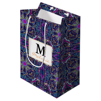 Boho blue kaleidoscope native american trend medium gift bag