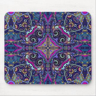 Boho blue kaleidoscope native american trend mouse pad