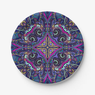 Boho blue kaleidoscope native american trend paper plate