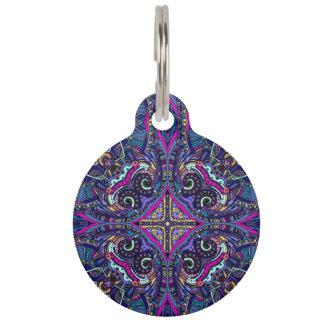 Boho blue kaleidoscope native american trend pet ID tags