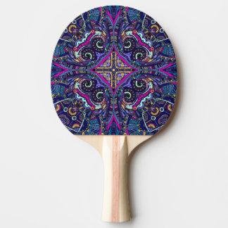 Boho blue kaleidoscope native american trend ping pong paddle