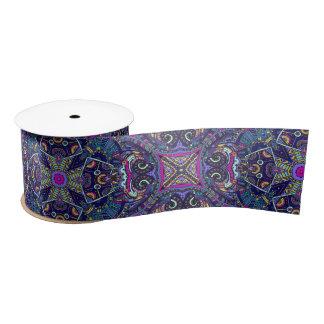 Boho blue kaleidoscope native american trend satin ribbon