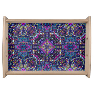 Boho blue kaleidoscope native american trend serving tray