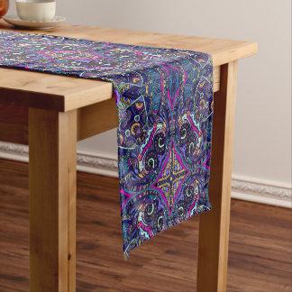 Boho blue kaleidoscope native american trend short table runner