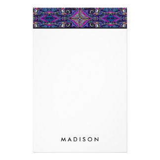 Boho blue kaleidoscope native american trend stationery