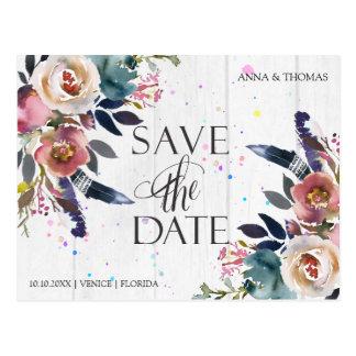 Boho Blue & Misty Rose Save The Date Postcard