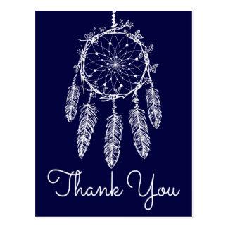 Boho Blue Thank You Dream Catcher Native American Postcard