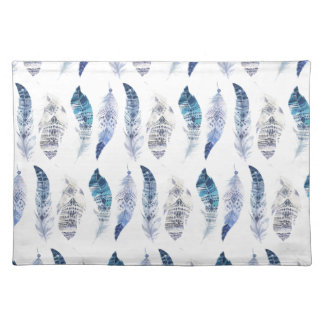 Boho Blue Watercolor Feathers All Over Print Placemat